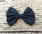 """Large 4.5"""" Denim Bow - Soft Fabric - You choose the quantity! Baby Headbands - Boutique Supplies"""