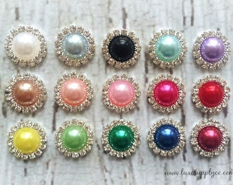 Rhinestone and Pearl 15 mm metal buttons with flat back - YOU CHOOSE Colors & Quantity -  DIY Weddings, Baby Headbands, Crafts - MR165 15mm