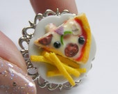 Food Jewelry Pizza and Fries Ring, Miniature Food Ring, Fast food Ring Pizza  Ring Mini Food Fries Ring Pizza jewelry Kawaii Ring Chips Ring