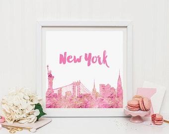 New York skyline print - faux pink gold print - gold decor