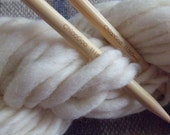 Hand Spun Falkland Singles Wool Yarn, 3.5 ozs (100 gms), MEGA Bulky Weight for fastest knitting!, natural white, un-dyed