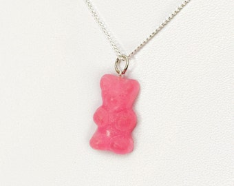 Pink Gummy Bear Charm necklace