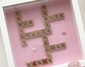 Wooden Letter Tiles Scrabble Family Frame