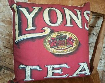 FREE UK POSTAGE Handmade Vintage Inspired Lyons Tea Square Cushion With Or Without Inner