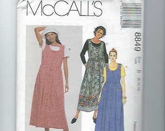 UNCUT Sewing Pattern McCalls 8849 for Jumper and Top, Sz 8, 10, 12