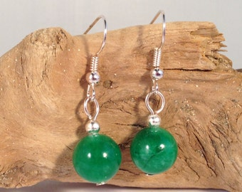 Green JADE Round 10mm Natural Stone EARRINGS on Nickelfree Hooks