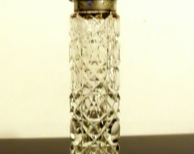 Antique Victorian Cut Crystal and Sterling Silver Flip Top Chatelaine Scent Perfume Bottle