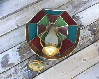 Antique Colored Glass Ceiling Light