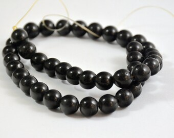 One Full Strand---Round Dark Black Turquoise Ball Beads----10mm ----about 40Pieces----15.5inch strand