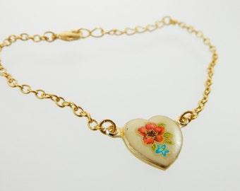 Vintage Red and Blue Floral Heart Bracelet
