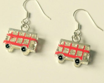 London Bus Earrings patriotic Britain uk England