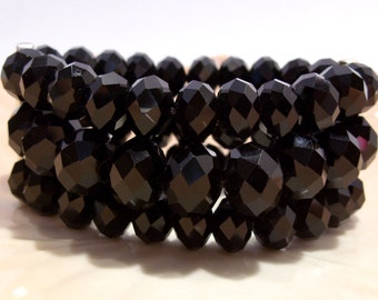 Black Faceted Glass Bead Three Row Stretch Bracelet by KC
