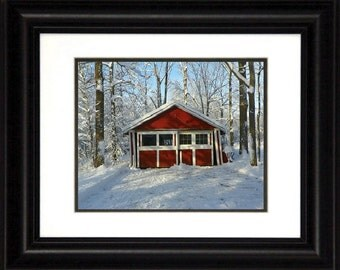 Framed or Unframed Photograph of Small Barn in the Woods in the Snow with Trees Woods (Image , Picture, Photo, Print)