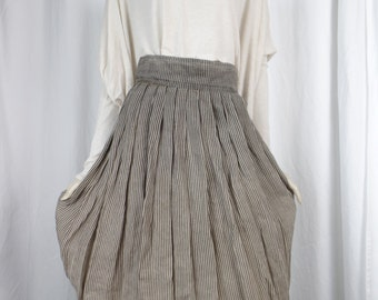 80s vintage Ernestina Cerini striped pleated linen skirt/ natural and dark brown graded width/ high wide waist: size 42 IT=US 6-8