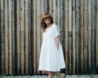 White Linen Oversize Dress - Oversize Dress - Linen Dress - Loose Fit Dress - Handmade by OFFON