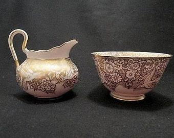 Tuscan creamer open sugar bowl hummingbird pattern English bone china tableware