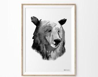 Black & White Monochrome Art Print | Minimalist Neutral Woodland Natural Home Decor | Black and White Wall Art Print | Bear Head Watercolor