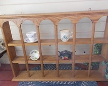 Oak Tea Cup Shelf Holds 18 cups. /Curio Cabinet /Display Shelf / Not Included in Coupon Discount Sale