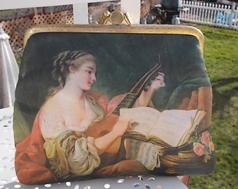 Silky Coin Purse Small Purse with Victorian Lady and Her Instrument / Not Included in Sale New Listing