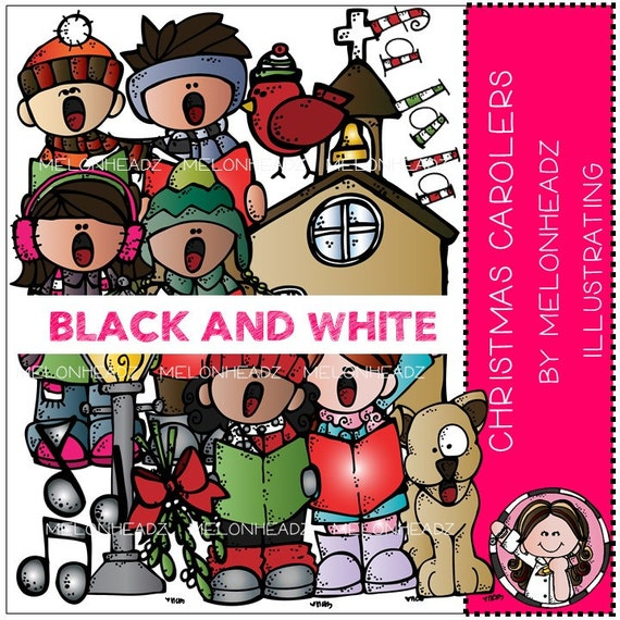 Christmas Carolers clip art - BLACK AND WHITE