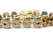 Gleaming Gold Tone Link Bracelet, Signed Monet, Vintage Chunky Bold Glam