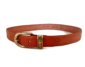 Talbots Camel Brown Leather Belt, Brass Buckle, Italian Leather Belt, Vintage 90's Belt, Size M