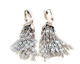 Sarah Coventry Silver Tassel Earrings, Chandelier, Dangle, Clip On, Disco, Signed