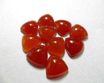 Chalcedony Cabochon 10 Piece Lot red Color AAAA Quality Triangle Shape Size 12X12 mm
