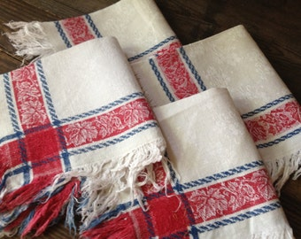 1900s Linen Tea Napkins Set of 4 White Damask Red Blue