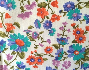 50s Floral Daisy Vintage Fabric Tangerine Orange Teal Green Flowers Mid Century Quilting Light Weight Linen By the Yard Cute Bright Fun
