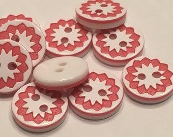 10 piece red sun buttons, 13 mm (39)