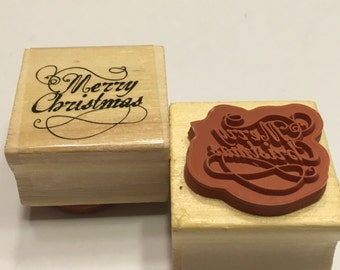 Merry Christmas rubber stamp, 25 mm (BB4)