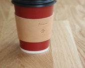 Personalized Coffee Cup Sleeve, Gifts, Premium Italian Full Grain Leather, Free Shipping