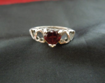 Vintage Silver Ring.  Sterling Silver with Red Heart Shape Rhinestone, Stamped, Size 7 3/4