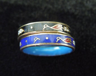 Fashion Ring Pair.  Size 6.75.  Gold Tone Base with Beautiful Enameling.  Excellent Condition