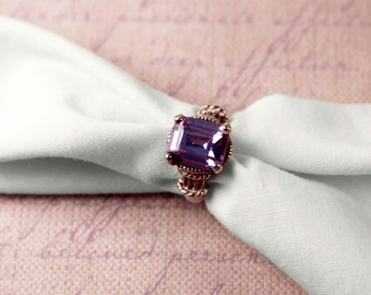 925 Sterling Silver Irridescent Purple Stone Ring