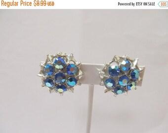 ON SALE Vintage Blue Iridescent Rhinestone Earrings Item K # 2398