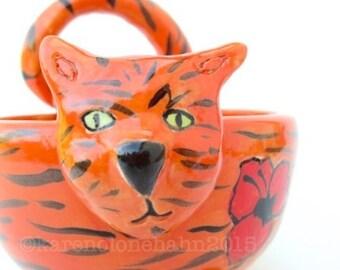 Cat bowl, Orange Tabby,  Handmade Ceramic,Ready to Ship, Made in USA