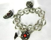 Biggest Sale Ever Vintage Bracelet Charm Etruscan Revival Fob Silver