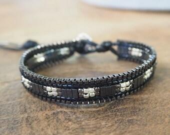 Black chain,crystal wrap bracelet