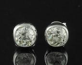 Spectacular Art Deco 1.60 Ct cushion old mine cut diamond stud earrings