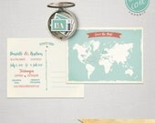 Destination wedding Bilingual Save the Date Card World Map Card Two language save the date Wedding invitation World map International couple