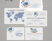 Destination wedding Floral bilingual wedding invitation invitation Two Countries One Love Bilingual World Map  French-English RSVP Postcards
