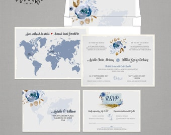 Destination Wedding Floral Bilingual Invitation Two Countries One Love World Map French English