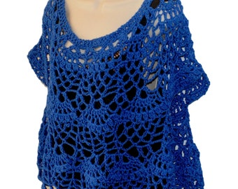 Royal Blue Top, Elegant Blouse, Formal Top, Dressy Crochet Top, Cotton Summer Top, Size Small to 3X, Plus Size Crochet, Wedding Clothes