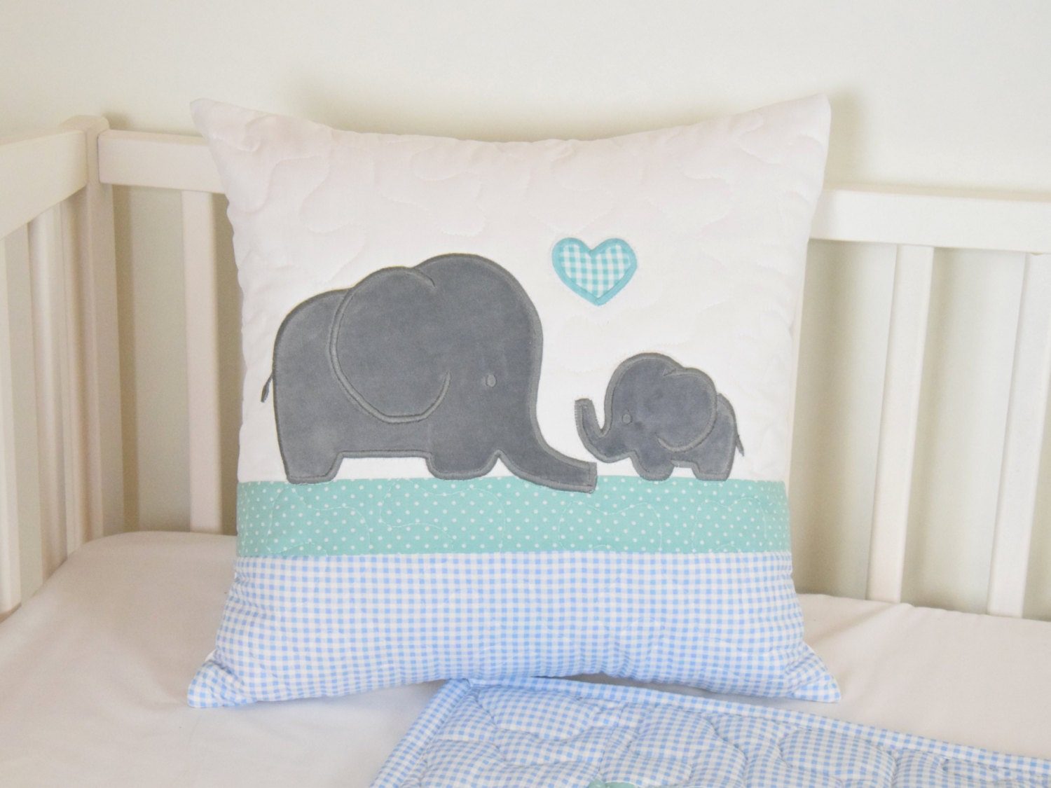 Baby Quilt Elephant Blanket Mint Blue Gray Crib Bedding