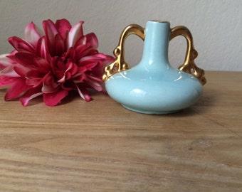Mid Century Light Aqua Vase with 22 Karat Gold Warranted,