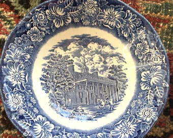 Vintage Blue and White Transferware Staffordshire Ironstone Bowls- Made in England- Historic Ironstone Bowls- Set of 4