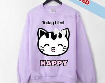 Today I feel.. HAPPY ! Kitty Emoticon Sweater - Sweet Purple