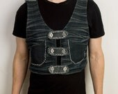 Holster style Mad Max futuristic vest from black denim with hand stitched detailing